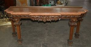 7475 Elegant Antique Marble 19th C Marble Top Console Table