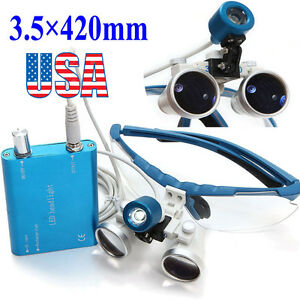 Blue Dental Loupes Surgical Medical Binocular 3 5x 420mm Led Head Light Lamp Usa