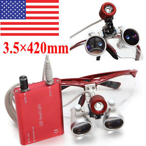 Usa Red Dental Loupes Surgical Medical Binocular 3 5x 420mm Led Head Light Lamp