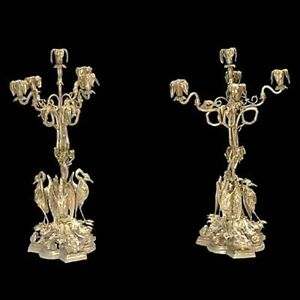 Pair Of American Bronze Candelabra With Herons At Base 383