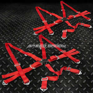 Pair 6 point 3 Shoulder Nylon Strap Harness Red Camlock Safety Racing Seat Belt