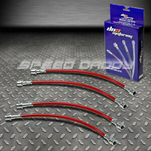Front Rear Stainless Steel Hose Brake Line 98 05 Porsche 911 996 Carrera Gt Red