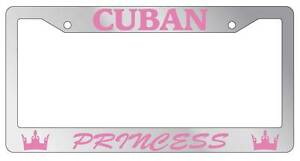 Chrome Metal License Plate Frame Cuban Princess Auto Accessory