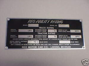 Reo Truck Ability Rating Data Plate Printed On Aluminum 1920 S 1930 S