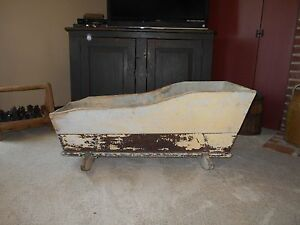 Wonderful Early Antique Primitive Baby Or Doll Rocking Cradle Old Paint