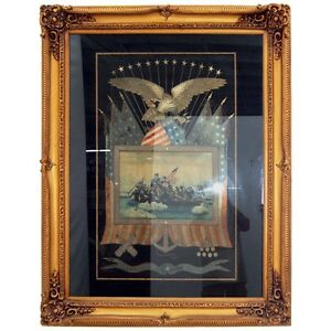 Naval Japanese Silk Embroidery Navy Memorabilia Framed 1900 1950 5258
