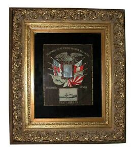 Naval Japanese Silk Embroidery Navy Memorabilia Framed 1900 1950 Stock 253