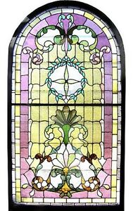 Victorian Stained Glass Landing Window Arched Top C 1890 6581