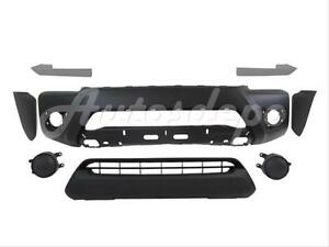 For 2012 2015 Tacoma Prerunner Front Bumper Primed End Filler Grille W Hole 8pc