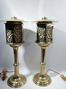 Luxe Pair Hollywood Regency Chinoiserie Brass Lamps Midcentury Japanese Lantern