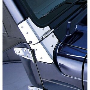 Windshield Hinges Pair Stainless For Jeep Wrangler Tj 1997 2006 Rugged Ridge