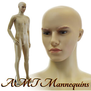 6ft1tall Male Mannequin Removable Head Bent Arm metal Stand Manikin f01b