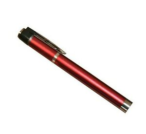 Red Pen Light Flashlight With 2 Aaa Batteries Emt Ems Doctor Nurse New