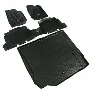 Floor Mat Liner Kit For Jeep Wrangler Jku 4 Door 2007 2010 Black 12988 01