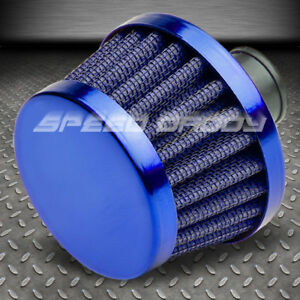 9mm Air Intake Manifold Crankcase Vent Valve Breather Tapered Gauze Filter Blue