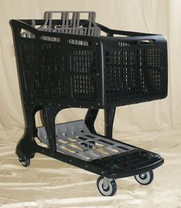 Black grey Large Plastic Grocery Shopping Carts
