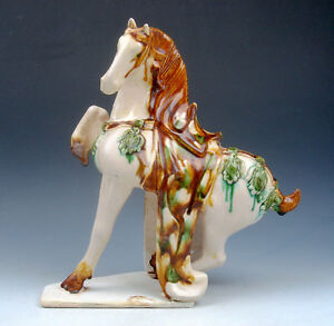 9 Chinese Sancai Hand Glazed Crafted Pottery Running Horse 1 Leg Up 06151404