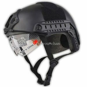 Tactical Airsoft Emerson Helmet with Protective Goggles BLACK Low Price Version