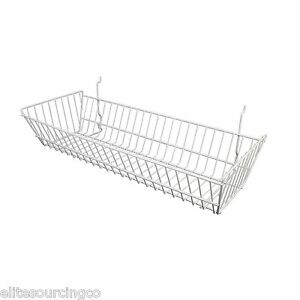 6 Wire Baskets 24 l X 10 d X 5 h White For Slatwall Grid Or Pegboard