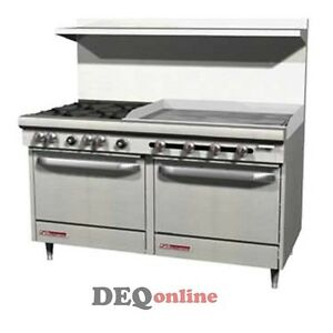 Southbend S60dd 3g 60 Gas Range W 4 Burners 36 Griddle And 2 Standard Ovens
