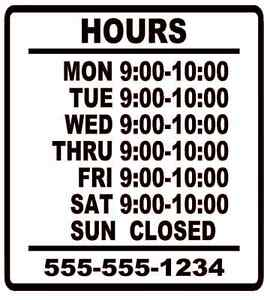 Business Store Hours Sign Window Shop Open Closed Sticker Decal 10 x9 Ver 1