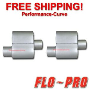 Pair Of Single Chamber Performance Race Mufflers Flo Pro O C 3 V73041