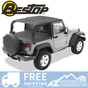 Bestop Header Bikini Safari Top Black Diamond Fits 2007 2009 Jeep Wrangler Jk