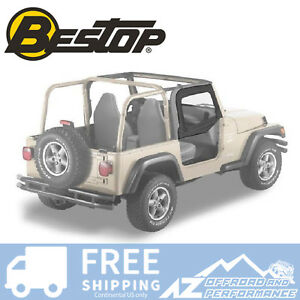 Bestop Soft Fabric Upper Doors 88 95 Jeep Wrangler Yj Black Denim 51782 15