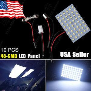 10x48smd Cool White Car Panel Led Light Bulb Lamp T10 Festoon Dome Ba9s Adapters