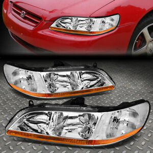 For 1998 2002 Honda Accord Pair Chrome Housing Amber Corner Headlight Lamp Set