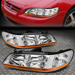 For 98 02 Honda Accord Chrome Housing Amber Corner Headlight Replacement Lamps