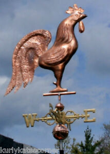 Copper Rooster Weathervane Made In Usa 450