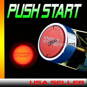 Engine Starter Switch Push Start Button Ignition Led Light Start Switch Red