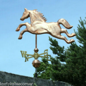 Copper Horse Weathervane W Copper Balls Brass Directional Made In Usa 217