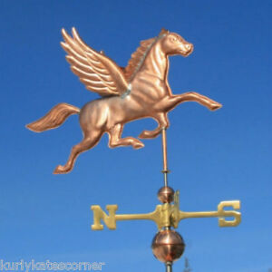 Copper Pegasus Weathervane With Copper Balls And Brass Directionals 406