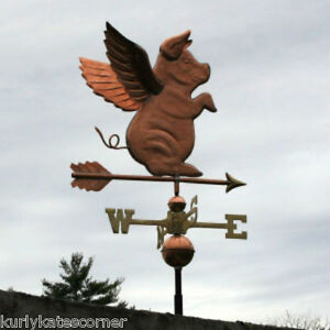 Sweet Sitting Copper Pig With Arrow Weathervane Made In Usa 257