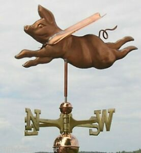 Sweet Flying Copper Pig With Arrow Weathervane Made In Usa 130