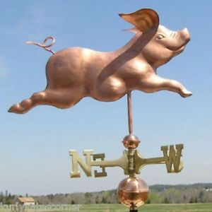 Playful Copper Running Pig Weathervane Made In Usa 315