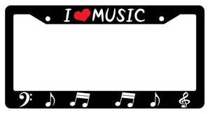 Black License Plate Frame I Love Music Notes Heart Auto Accessory