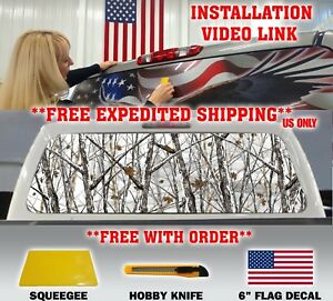 Camo Camouflage Pickup Truck Rear Window Graphic Decal Tint Hunter Snow Storm