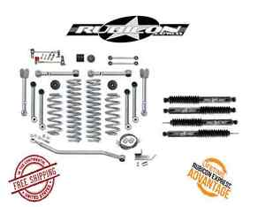 Rubicon Express 4 5 Super flex Short Arm Kit W Twin Tube Shocks For 97 06 Jeep