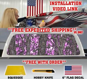 Pink Girl Camo Camouflage Pickup Truck Rear Window Graphic Decal Muddy Tint