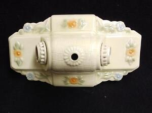 Vintage Ceramic Porcelain Ceiling Light Fixture Flush Mount Floral 3531 14