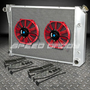 For 73 74 Buick Apollo chevy Nova omega ventura 3 Row core Radiator 10 Red Fan