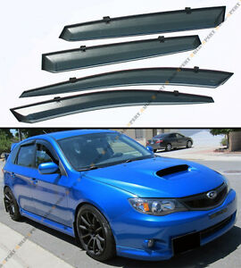 For 2008 14 Subaru Impreza Wrx Sti Clip on Smoke Tinted Window Visor Vent Guard