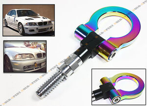 Screw on Neo Chrome Aluminum Front Rear Bumper Racing Style Tow Hook For Bmw
