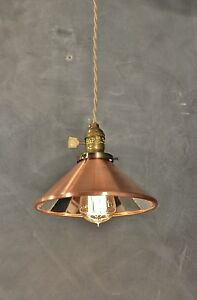 Vintage Industrial Pendant Lamp With Cone Mirror Reflector Shade Antique Machi
