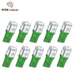 Yitamotor Green T10 Wedge 5050 5smd Led Map Interior Instrument Light Bulb 10pcs