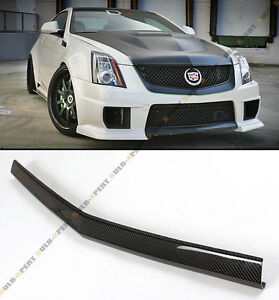 Carbon Fiber Front Bumper Center Lip Spoiler For 2013 14 Cadillac Cts V 2d Coupe