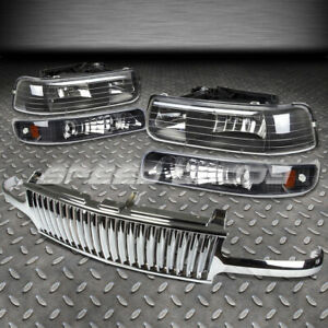 For 99 02 Silverado 00 06 Tahoe Chrome Front Grill Black Housing Headlights Lamp